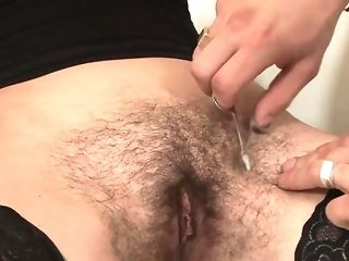 Stud ravages unshaved girl detach from behind while she standing then trims her labia free sex