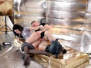 Russian black-haired is providing a adorable footjob to her worshipped together with obtaining banged in the caboose
