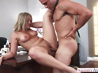 Nasty light-haired female is oftentimes having torrid hookup with her manager, advantage of doing her job