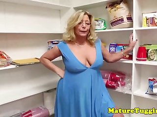 Mature ash-blonde lady with glasses gave a oral pleasure to her step- son-in-law, until he came