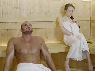 Russian gal with braided hair and large mammories got drilled on every side the sauna, until she came