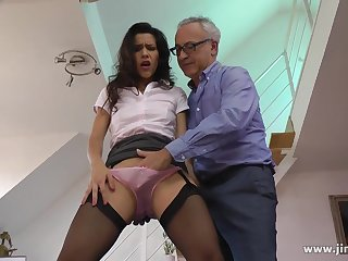 Crazy black-haired gets drilled with own underpants more her facehole