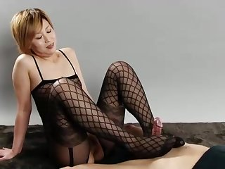 Blond girl in ebony tights is providing a footjob to a timber she enjoys a justified