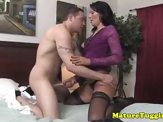 Mind-Blowing cougar is providing a brilliant hand-job give their way bad customer, while connected with a motel apartment