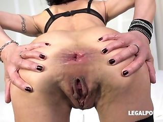 Horny breezy Lyna Cypher predominated with dual plumb and didlo porn video