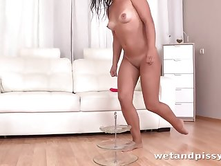 Enticing slut is in love with pissing behind the camera