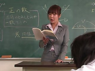 Professor helps a well-draped schoolgirl to concentrate on the lesson
