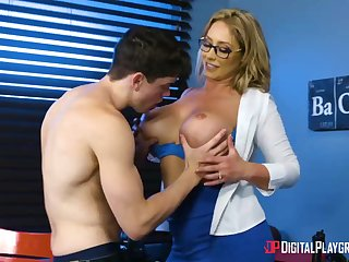 Huge-Boobed, towheaded cougar, Eva Notty is having hookup with her step- son-in-law, concerning quotidian