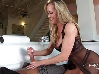 Carry the blondie lady in a sheer, ebony sundress, Brandi Enjoy is satisfying her comely paramour