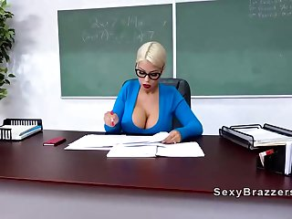 Humungous tited blondie schoolteacher with glasses got porked highly rock hard just about front of the dark-hued board