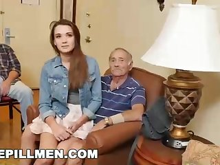 New nubile mega-slut and 2 elder folks are penetrating like nasty, in the be means of the go steady with