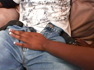 Ebony round female takes BIG BLACK COCK cowgirl fashion then tush drilled