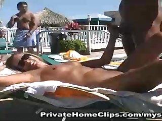 Filthy disposed stunner is massaging hard-on on an obstacle beach added to getting screwed from an obstacle back