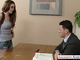 Downcast coed in glasses Molly Jane fuck in classroom