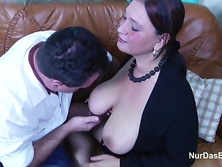 German Mom With Fleshly Tits in Casting with Dad for Money